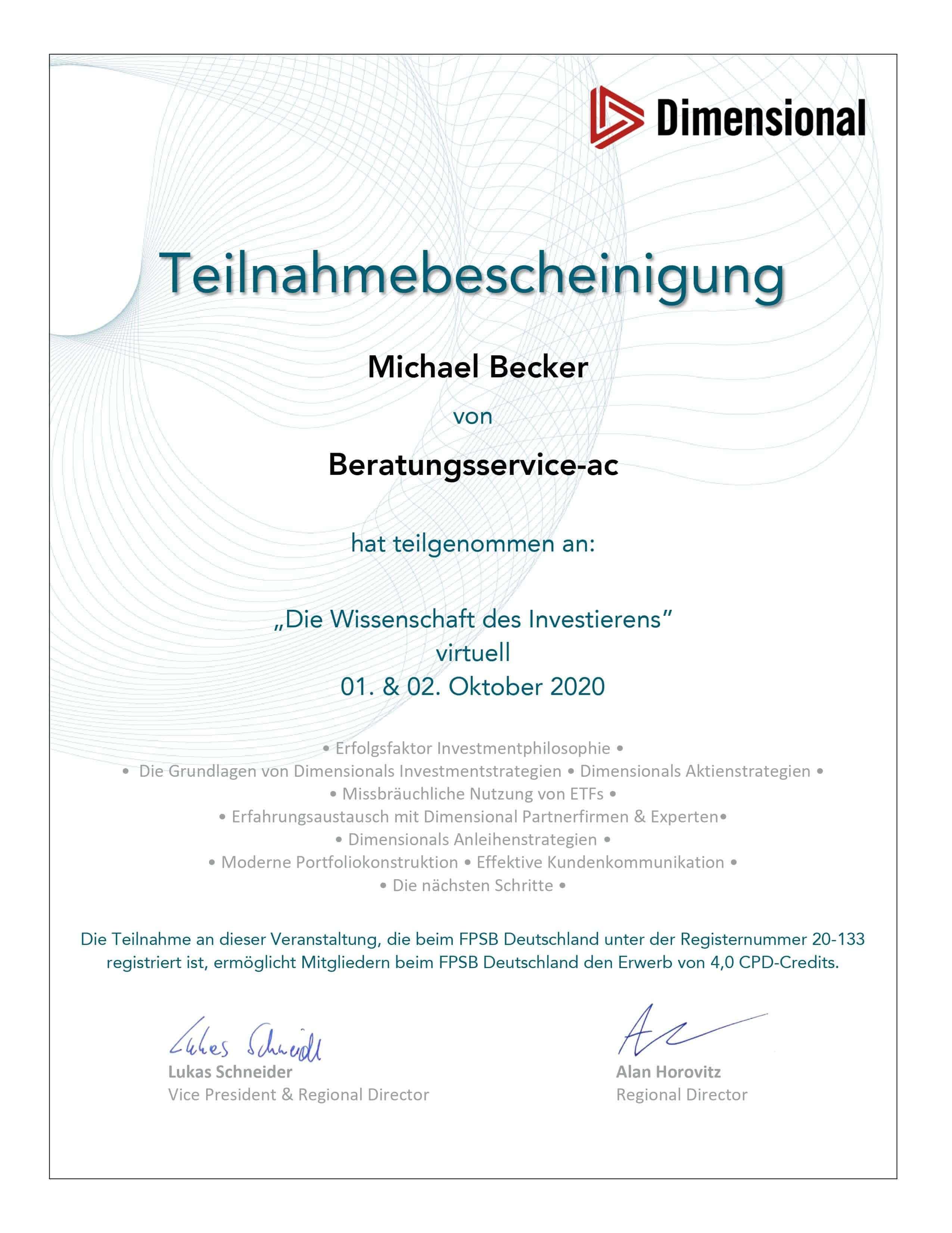 Dimensiona Funds Finanzberater Aachen Michael Becker